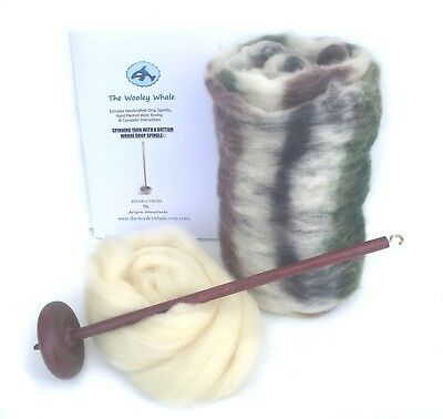 Drop Spindle Yarn Spinning Kit Maple Wood Colorway, Birch Trees