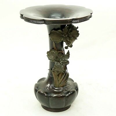 Very Fine Antique Large 19th C Japanese Patinated Bronze High Relief Vase