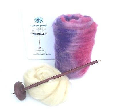 "Drop Spindle Yarn Spinning Kit Maple Wood Colorway,"" Marsh Roses"""