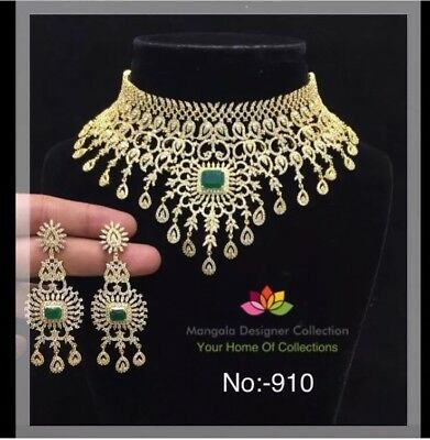 New Indian American Diamond Necklace And Earrings Set Gold Tone Ruby Pink