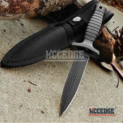 "7"" TACTICAL COMBAT BLACK BOOT KNIFE Spear Point Hunting Military Fixed Blade Kni"