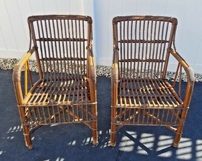 PAIR of RARE ANTIQUE RATTAN & REED ARM CHAIRS
