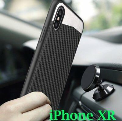 "for iPhone XR (6.1"") - Magnetic Backplate BLACK Carbon Fiber Rubber Case Cover"