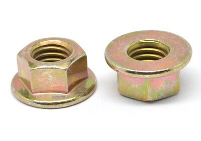 3/8-24 Fine Grade G Stover All Metal Flange Locknut Medium Carbon Steel Yellow Z
