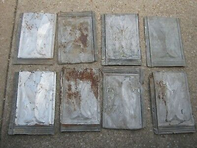 "8 pcs  VINTAGE ANTIQUE ROOFING TIN SHINGLE LOT SHIELD EMBOSSED 14"" X 9 1/4"""