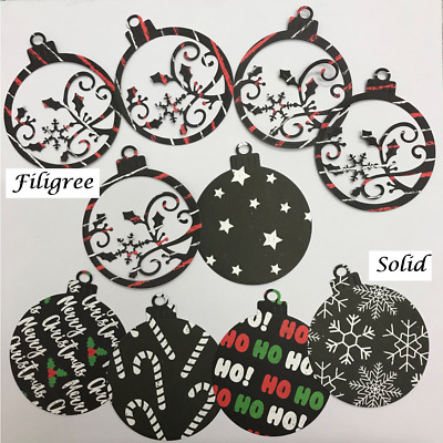 Large Christmas Bauble Die Cuts - Two Styles, Assorted Colours, Sets of 10