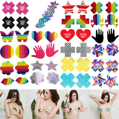20x Pasties Breast Nipple Cover Self Adhesive Disposable Bra Pad Lot Multi Shape