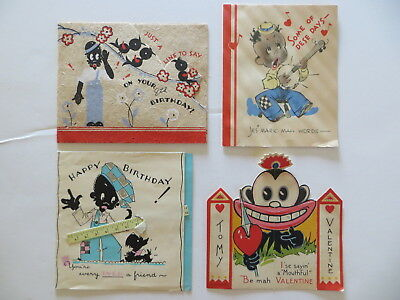 Vintage Wishing Well Greetings 1940's Black Americana Valentines Card Lot