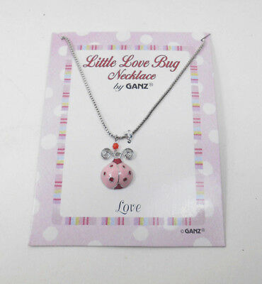 Ganz Surgical Steel Dangle Little Love Bug Pink Ladybug Necklaces 16 inches long