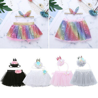 Baby Girls Flower Headband+Tutu Skirt Princess Dress Outfits Party Photo Costume