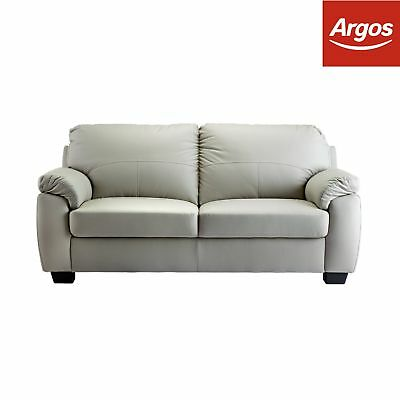 Argos Home Logan 3 Seater Faux Leather Sofa - Grey
