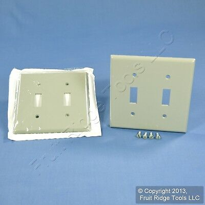 2 Leviton Gray 2-Gang Toggle Switch Cover Wall Plates Double Switchplates 87009