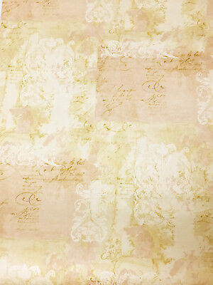 Rose Pink Cream Beige French Damask Scroll Script Wallpaper Roll VILLAGE 5815145