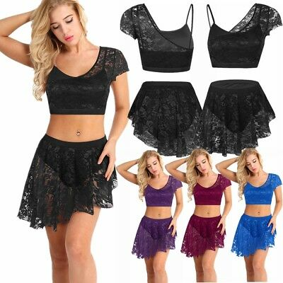 Clearance Contemporary Lyrical Ballet Dance Costume Lace Asymmetric Skirt Adult