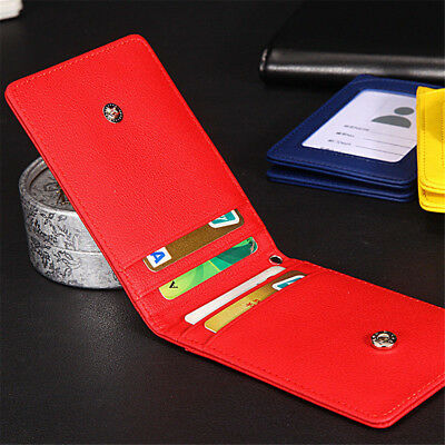 5 Slot Leather Wallet Office Badge ID Credit Card Holder With Neck Lanyard Strap