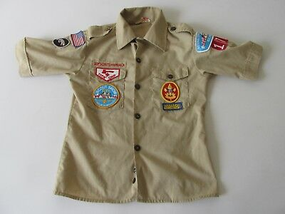 Vintage Boy Scout Youth Official BSA Shorts Sleeve Uniform Shirt Youth 10