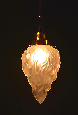 Vintage French brass lantern pendant chandelier mouth blown opaline flame shade