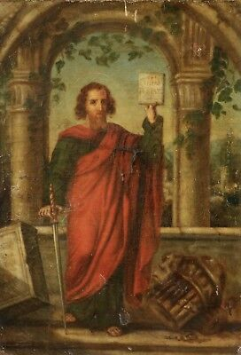 18th CENTURY LARGE FRENCH OLD MASTER OIL CANVAS, SAINT PAUL EPISTLE - TO RESTORE