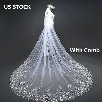 4 Meter Long Wedding Veil Ivory Luxury Sequins With Comb Bridal Chapel Cathedral