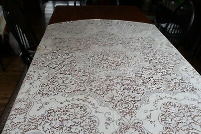 "Vintage Cream Lace Tablecloth 68"" Round Large Flowers"