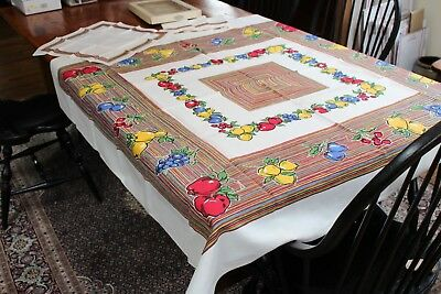 Vintage Fabulous Simtex Tablecloth & Napkins NIB 52x52 4 Napkins Fab Fruit