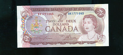 1974 Canada 2 Dollar Bank Note Lawson/Bouey AU or better BL4023
