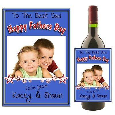 Personalised Fathers Day Wine Champagne Bottle Label Photo Gift for her N26