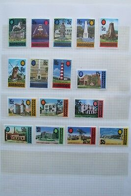 XL3444: Complete Set Mint 1970 Barbados Stamps to $5