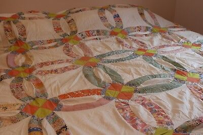 Vintage Cotton Quilt Top 85x86 Double Wedding Ring Feed Sacks