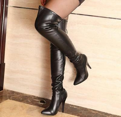 Women's Pointed Toe Sexy Over Knee Thigh Boots High Stilettos Lace Up Shoes