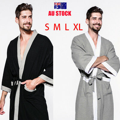 Mens 100% Cotton Soft Bathrobe Waffle Hotel Home Lightweight Dressing Gown Robe