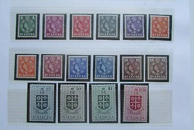 XL3350:  Full Set 1953 Mint St Lucia Stamps to $2.50 inc Shade Varieties