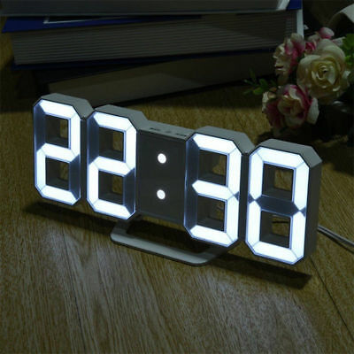 Modern 3D Digital 54 LED Wall Table Desk Clock Night Light Alarm Snooze Lamp USB