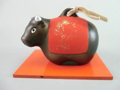 Vtg Japanese Zodiac Cow Ceramic Bell Dorei Pottery Hand painted Gold Stand DR175