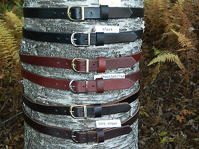 "Handmade Heavy Duty Genuine Leather Belt 1"" Inch wide Men/Women/Boy~Brass/Chrome"