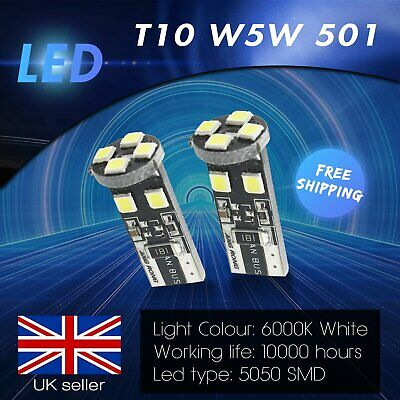 2x Error Free T10 W5W 501 LED Bulbs 8 SMD Indicator Interior Number Plate Light