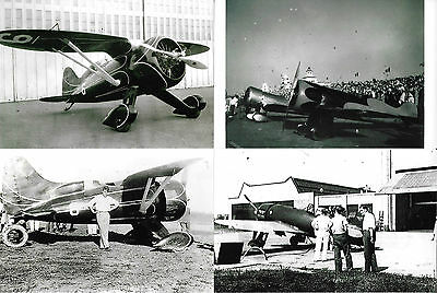 LOT OF 4 - VINTAGE BLACK & WHITE AIR RACING PHOTOGRAPHS: Hall's Bulldog Racer ++