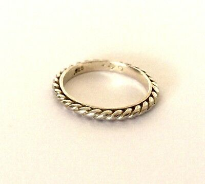 925 STERLING SILVER RING LADIES BAND ROPE SIGNED BY DESIGNER SILPADA Sz 4 3/4