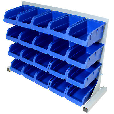 20Pce Free Standing Blue Plastic Storage Bin Kit Garage/Workshop/Workbench Bins