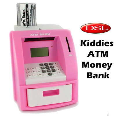 DSL Childrens Digital Coin/Note/Cash Counting ATM Toy Money Bank/Box w/Pin +Card