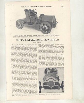 1905 Merrill 2 Cyl 2 Cycle Air Cooled Automobile Article Plainfield NJ wz7023