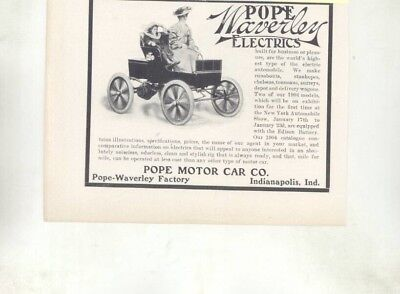 1904 Model Touring Automobile Pope Waverley Electric Car Ad Auburn IN wz7052