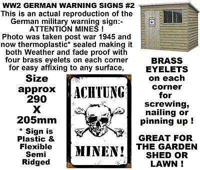 Vintage ACHTUNG German WW2  military warning sign-Novelty garden sign-Shed etc