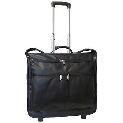 Amerileather Cowhide Leather Black 21.5-inch Wheeled Garment Bag