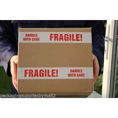 36 Rolls Case White Red Fragile Marking Box Tape Shipping Packing 2-inch x 110