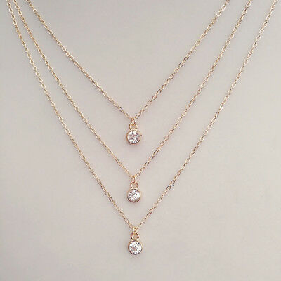Circle Crystal Pendant Charm 3 Multi Layer Necklace Chain Women Jewelry CB