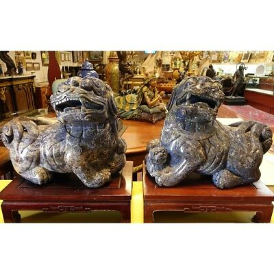 Large and Heavy Pair of Impressive Chinese Carved Lapis Lazuli Foo Dogs