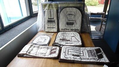 Lot Of 6 Vintage Brown Cloth Quilted Appliance Covers-5 Never Used-Mixer-Toaster