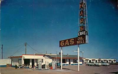 Roadside Postcard Hap's Oil Well Gas Station, Hapsville, New Mexico circa 1950s