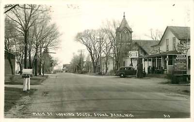 Real Photo Postcard Main Street General Store, Gas Station, Stone Bank Wisconsin